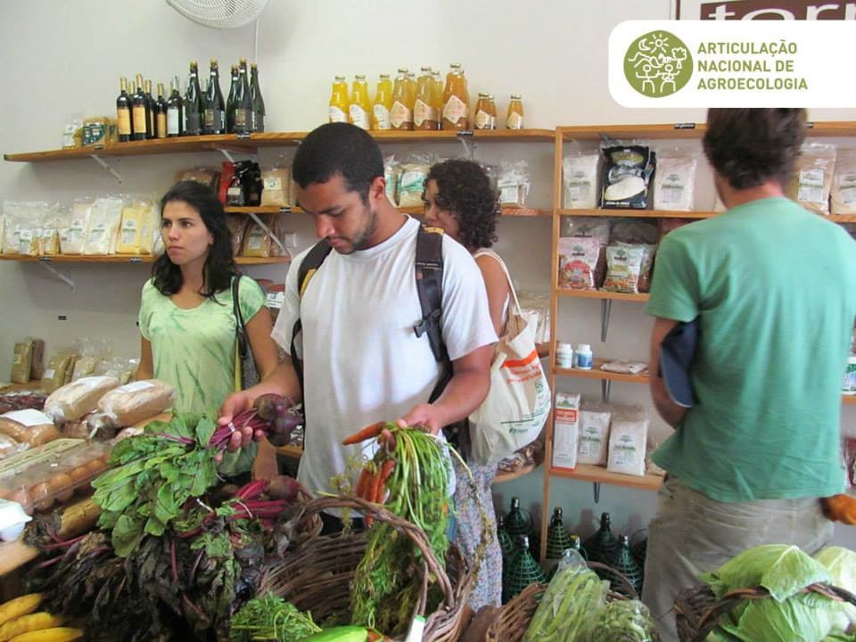 People in shop buying Agroecological food